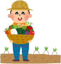 収穫した野菜をもつ農家のひと