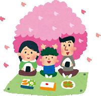 桜の樹の下で家族でお弁当