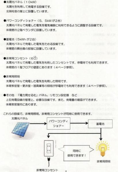 設備概要:(災害時設備使用マニュアルより抜粋)