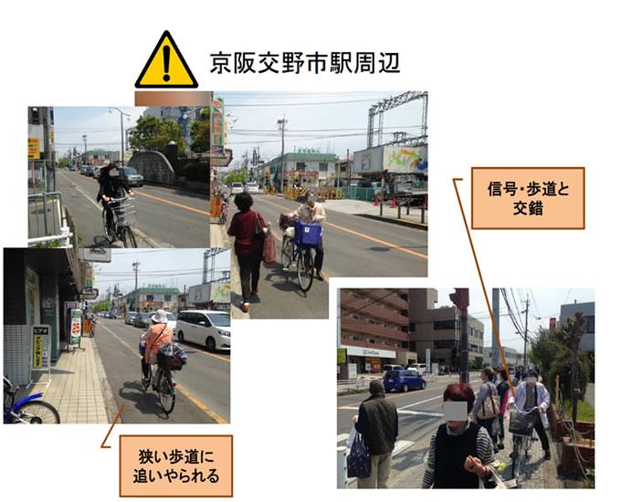 京阪交野市駅周辺 危険:信号・歩道が交錯、狭い歩道に追いやられる