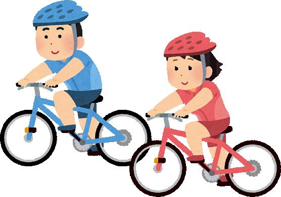 サイクリングする男性と女性